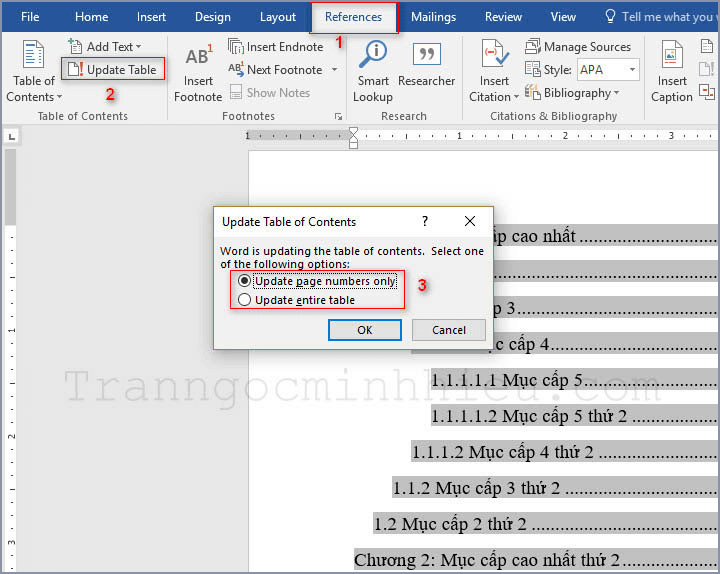 Create an automatic table of contents in Word