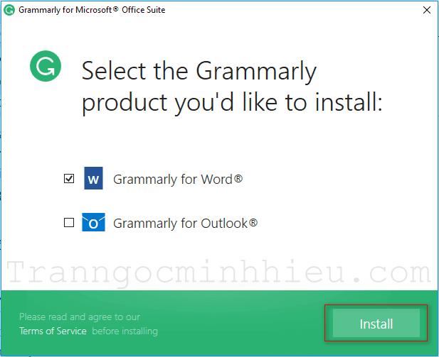 Nhấp Install để tiếp tục cài đặt Grammarly