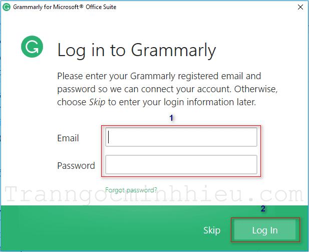 Đăng nhập hoặc bỏ qua để tiếp tục cài đặt Grammarly