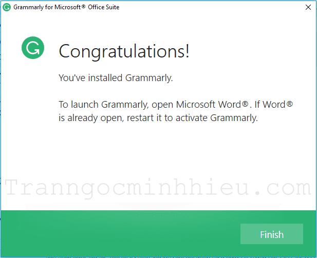 Nhấp Finish để hoàn tất cài đặt Grammarly