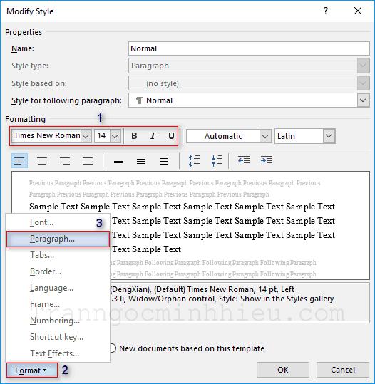 """Ảnh mẫu về hướng dẫn định dạng font. Trích từ bài viết """"Cách tạo và sử dụng Template trong Word""""."""