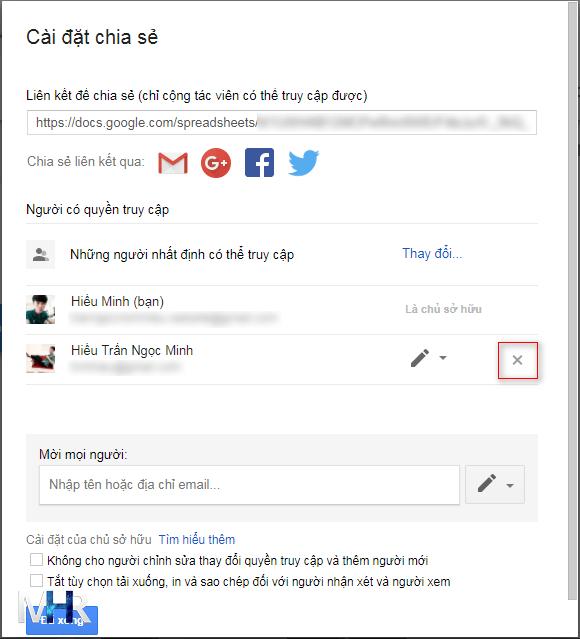 Nhấp nút X để xóa tài khoản được nhận chia sẻ